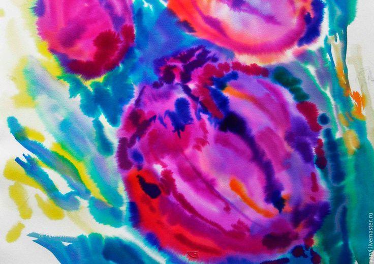Купить Розовые тюльпаны, акварель, авторская работа. - фуксия, розовый, картина, авторская работа, яна