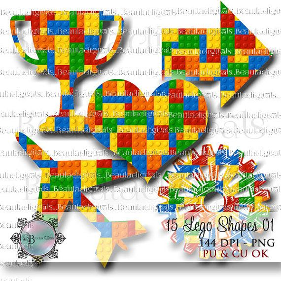 15 Lego Shapes blue yellow red green Colors 01  by Beauladigitals