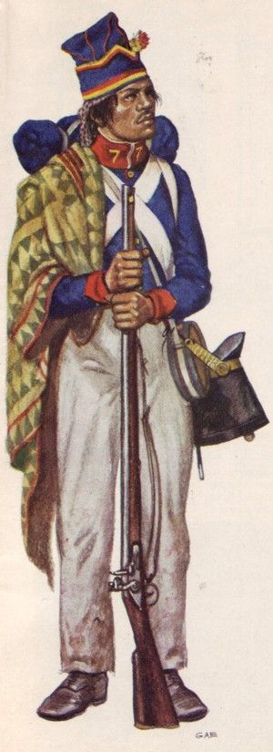 """Compania de Granaderos, Regimiento de Infanteria Permanente."" ""Animas Shako Flaming Grenade.""Ca. 1830's-1840's with blue coat and traditional white cross-belts.  The pants would be white linen, and the shako hat is carried on the hip while the linen forage cap is worn."