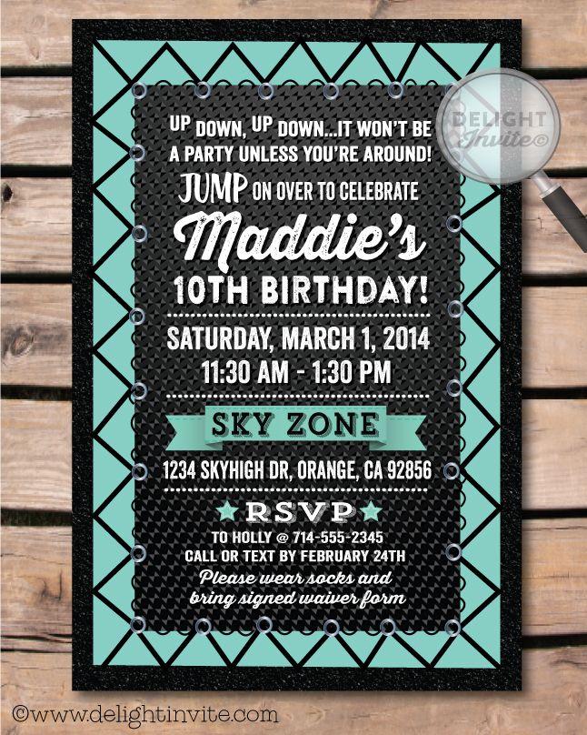 Best Trampoline Party Ideas On Pinterest Trampoline Birthday - Birthday invitation wording 11 year old boy