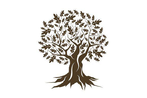 Vector oak tree silhouette