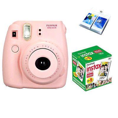 Fujifilm Fuji instax Mini 8 Pink instant Polaroid Camera + 50 White Film + Album | eBay £72.99
