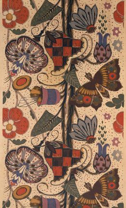 Furnishing fabric, by Minnie McLeish (1876-1957) for William Foxton Ltd. Roller printed cotton. England, 1920s.