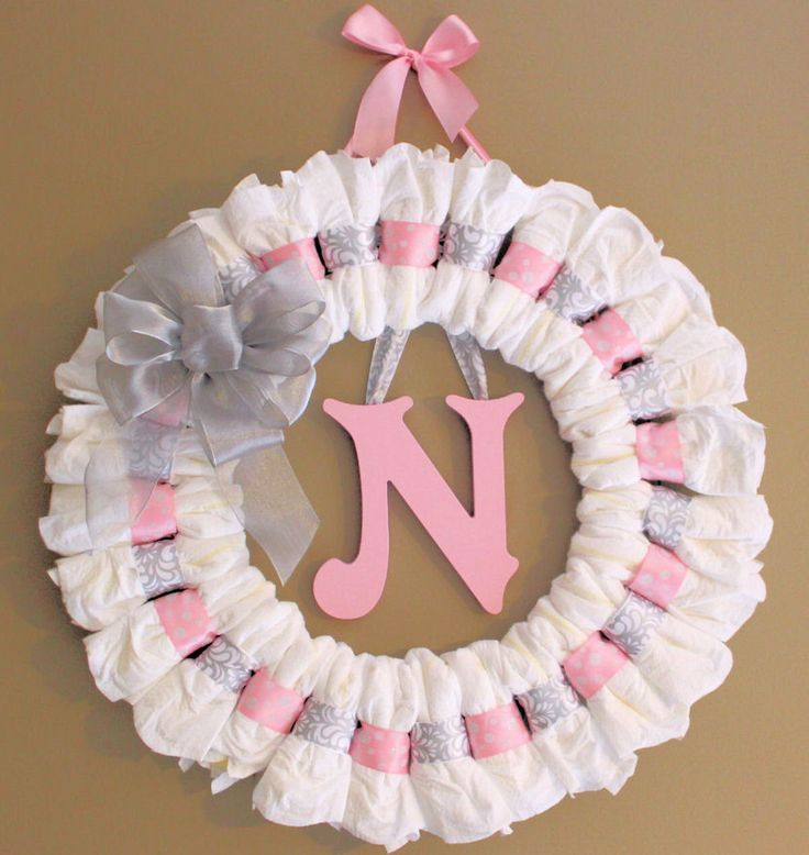 14 best diaper wreaths images on pinterest diaper wreath diaper large custom pink and grey diaper wreath with painted wooden wall letter and ribbon baby shower gift nursery wall decor negle Image collections