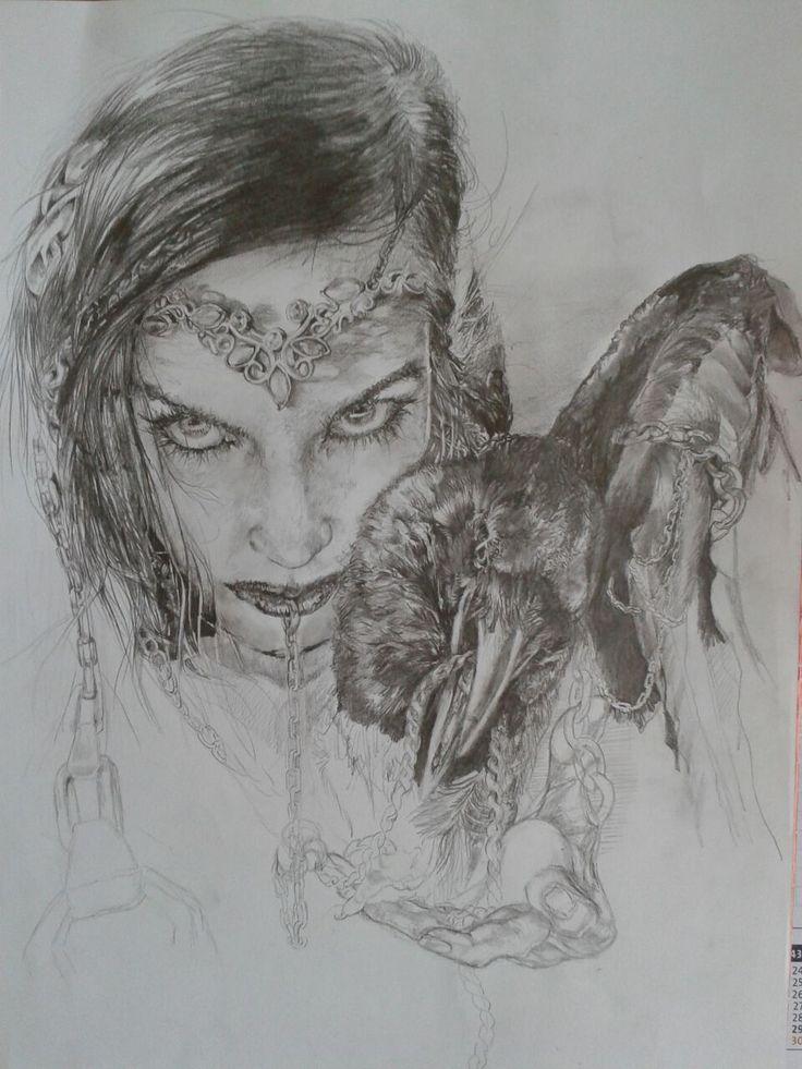 Dara 4, aus meiner Rabenserie, Frau mit Raben #women #raven #jewerly #mystic #dark #gothik #iwandtobefree #drawing by #danaiden