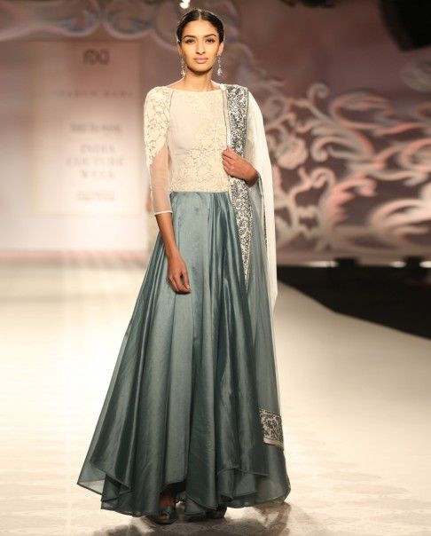Blue Gray Anarkali Suit with Embroidered Bodice - The Best of March - Editor's Corner