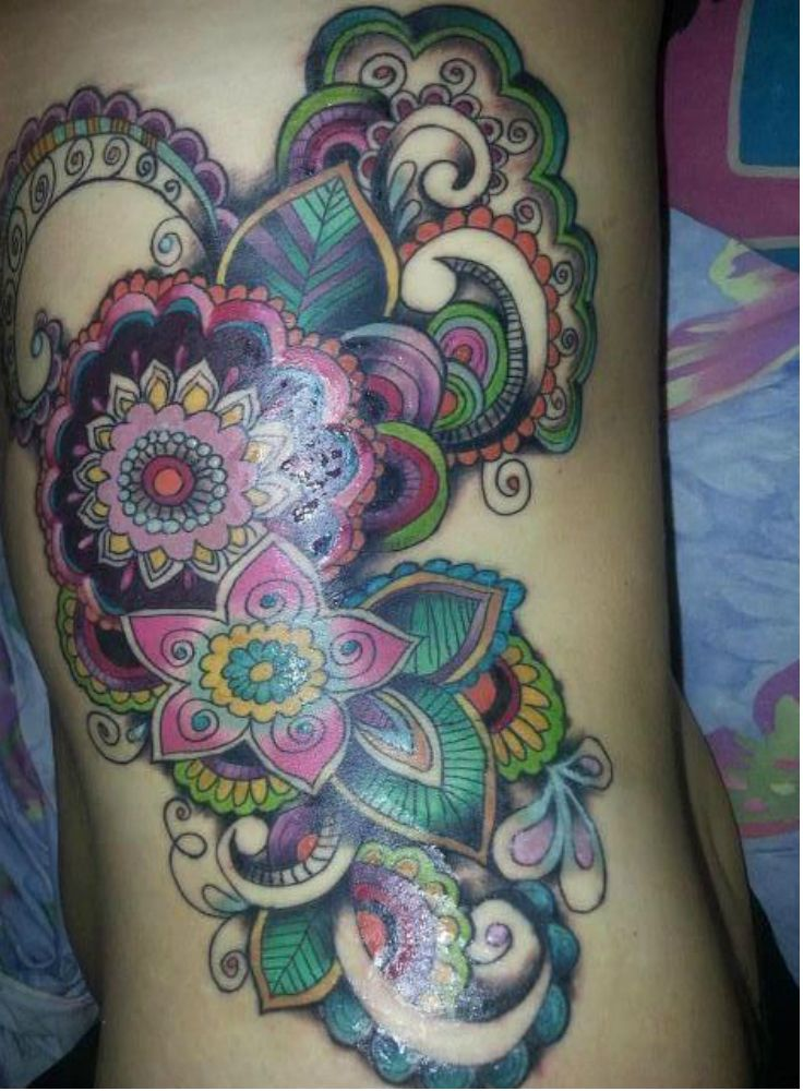 Love the use of color and pattern in this Paisley Side Tattoo | Tattoo Ideas Live