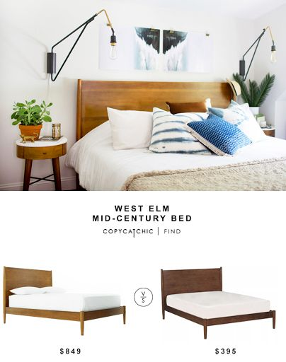 West Elm Mid-Century Bed $999 vs Living Spaces Alton Cherry Queen Platform Bed $349 | Copy Cat Chic look for less