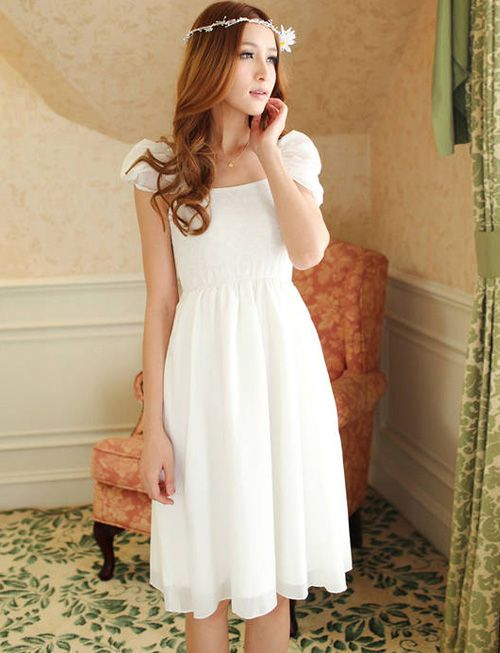 Possible Rehearsal dinner dress at $13.30Sweet Frilled Trim Cap Sleeve Chiffon Dress in Pure Color