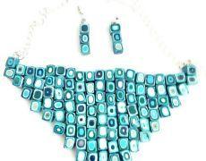 Matrix turquoise necklace- colier statment-colier argila polimerica