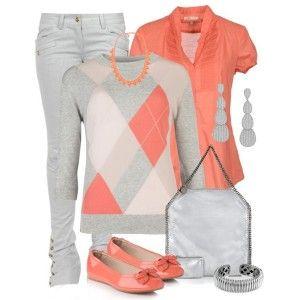 Коралловые балетки, серые джинсы, коралловая блузка, серый свитер, серебристая сумка