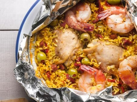 Paella Foil Pack on the grill   – YUMMY!