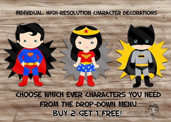 Superhero Birthday Party Supplies, Diy Character PopUps Decorations, Table Centerpiece Decor, YOU CHOOSE Buy 2 Get 1 Free - JPG Digital File...