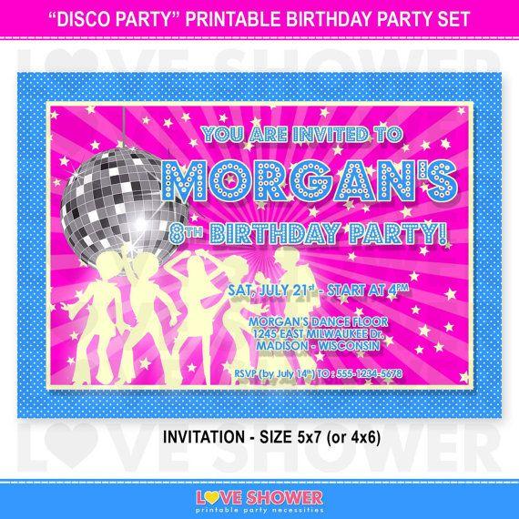 Disco Party Birthday Invitation 5x7 4x6 Hot Pink