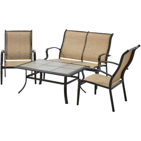 Balcony Make Over  Mainstays Wesley Creek 4-Piece Sofa Set, with 1 loveseat, 2 chairs and coffee table, Tan <3 This is an Amazon Associate's Pin. Click the image to visit the website for more info.
