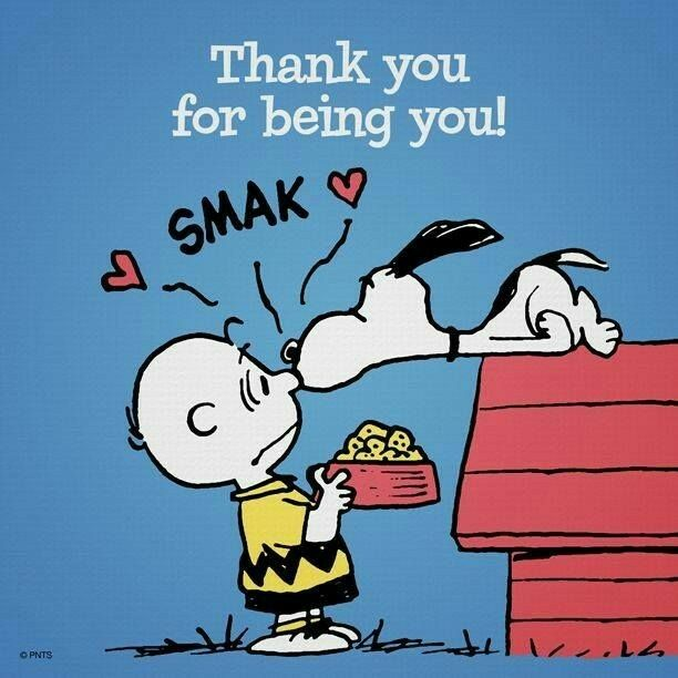Thank you for being you. Kiss from Snoopy to Charlie Brown.