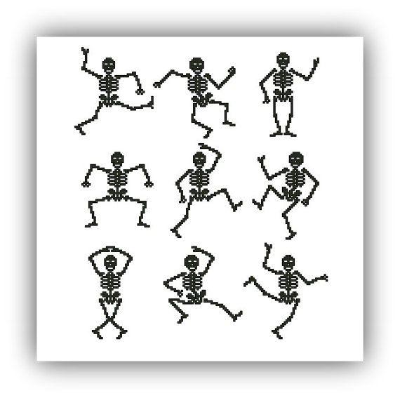 Halloween Cross stitch pattern  Dancing Skeletons Instant Download