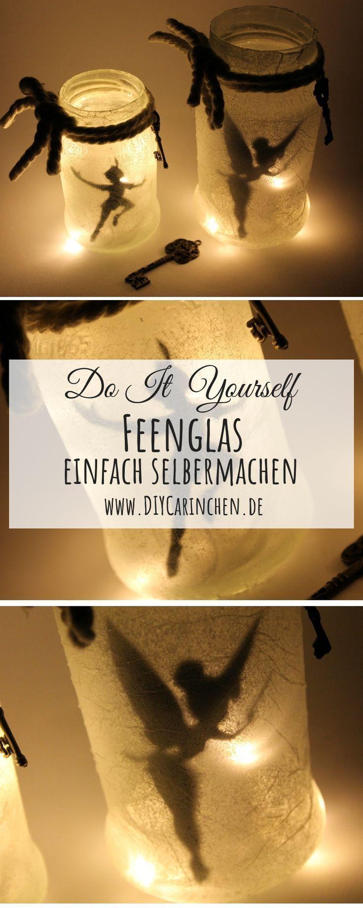 DIY Feenglas Tinkerbell / Peter Pan ganz einfach selber machen, #DIY #einfach #Feenglas #gan…