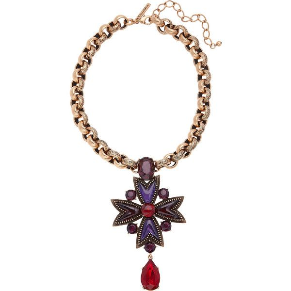 Oscar de la Renta: gold-plated crystal and cabochon necklace, With a royal  pendant studded with purple and red crystals and cabochons, this piece is  ...