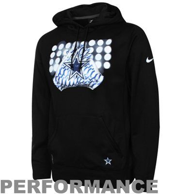 Nike Dallas Cowboys Glove Lockup Pullover Performance Hoodie - Black
