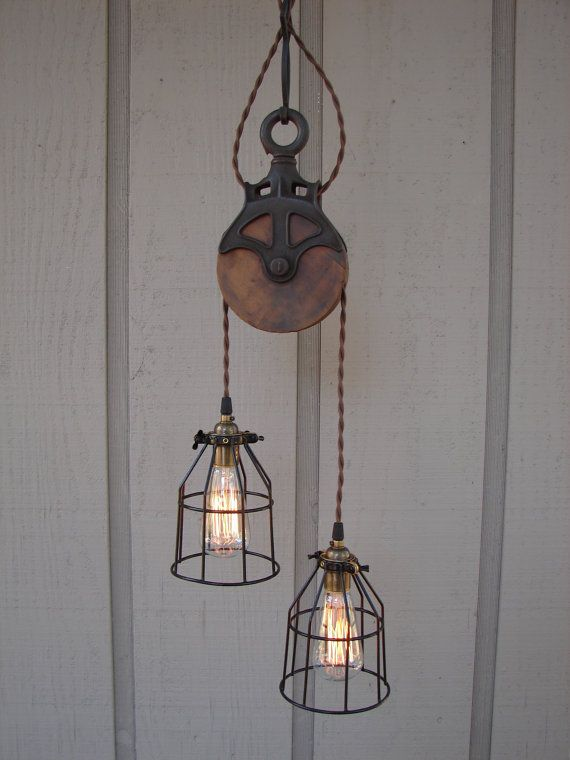 Reserved for diane upcycled farm pulley lighting pendant with bulb cages