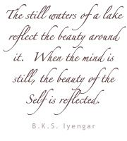 The still waters of a lake reflect the beauty around it.  When the mind is still, the beauty of the Self is reflected.