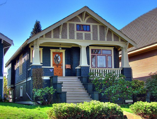 Heritage home in Vancouver, BC. Love the stairs and the door!
