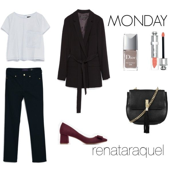MONDAY by renatabarroso on Polyvore featuring Zara, MANGO, Topshop and Christian Dior