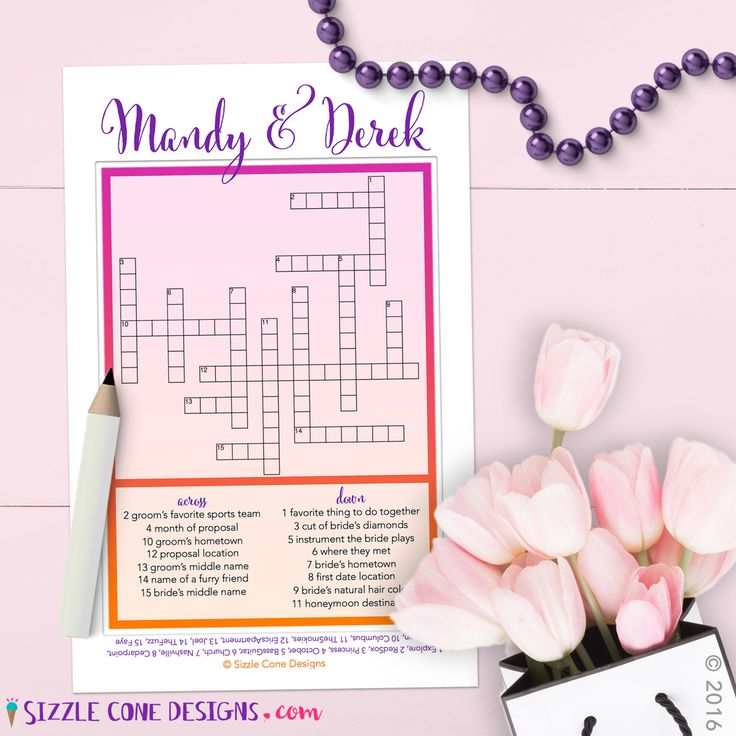 Custom Wedding Crossword Puzzle Cards [Printed or Printable] ... Quiz your guests on how well they know the lovestruck pair! It's the perfect activity for bridal showers, rehearsal dinners, wedding receptions, & engagement parties. So let's get started!