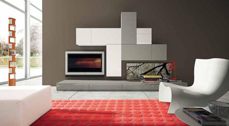 Mueble TV moderno / de madera / de madera lacada COMPOSITION 08 Marka Industria Mobili