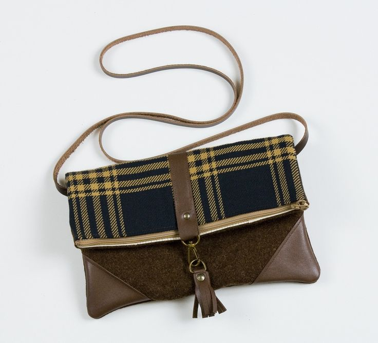 Made By Hank: foldover crossbody bag in vintage plaid with leather corners + tassel