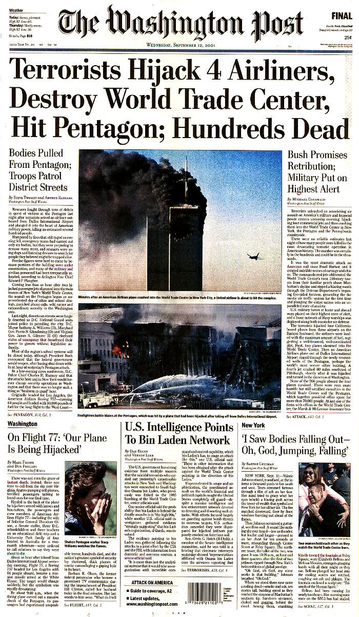 17 best images about news headlines of the past jfk 9 11 pentagon newspaper headlines ap history 11th terrorist attack g6