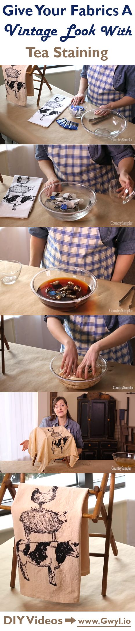 This is an easy tutorial on how to stain fabric using tea!  | GIve Your Fabrics A Vintage Look With Tea Staining | Watch video and see full written instructions here:  http://gwyl.io/give-fabrics-vintage-look-tea-staining/