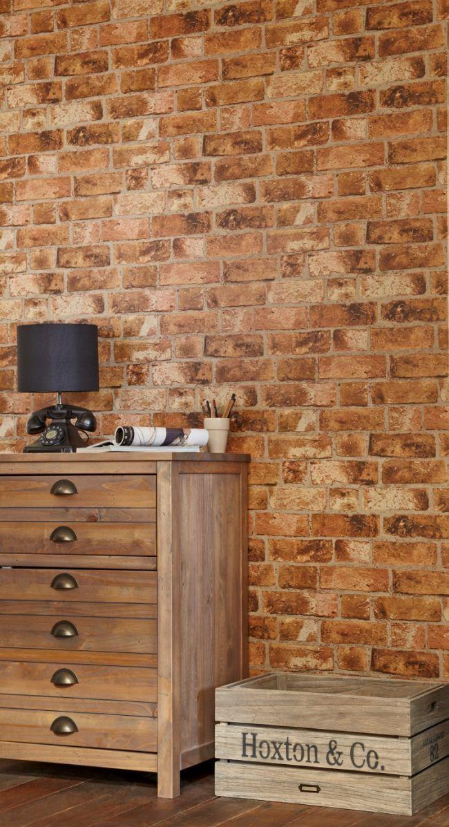 Fancy backstein tapete wandgestaltung vintage rustikal kommode nachttisch holzkisete