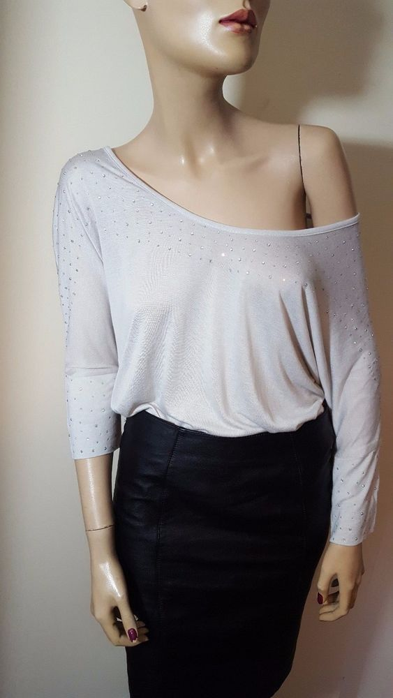 Gold Hawk Bamboo Silk Crystal Slouchy Boat Neck Grey Jersey Top Size S UK 8 10 #GoldHawk #OtherTops #Casual