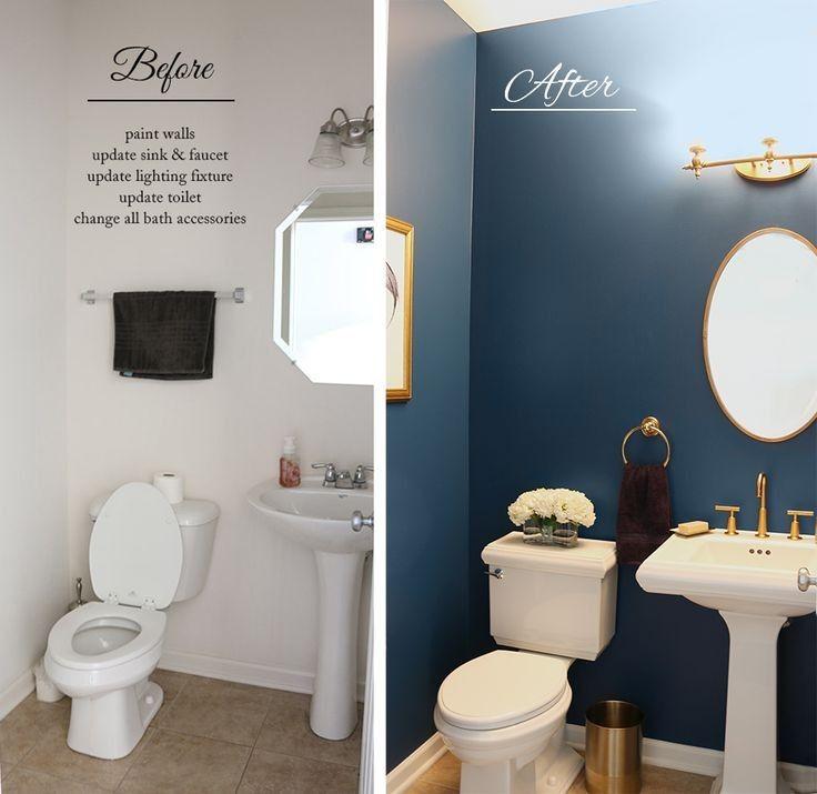 20 Small Bathroom Design Ideas Designs Hgtv Before And: Bathroom, Powder Room, Navy
