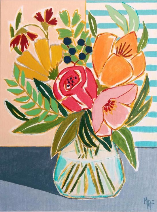"""ARTFINDER: Flowers from L'albir by Marisa Añón Frau - This Painting from my new series of Paintings """"Spanish Flowers"""" is inspired by the small town of L´Albir, on the Valencian, Mediterranean coast.  Title: """"F..."""