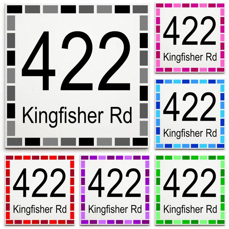 Custom House Number & Street Name Sign/Plaque - Ceramic Tile Print: Dash Border
