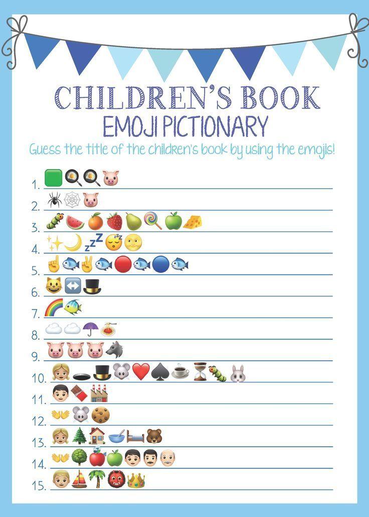 Baby Shower, Baby Shower Games, Baby Book, Blue, Emoji, Baby Shower Boy, Bunting…