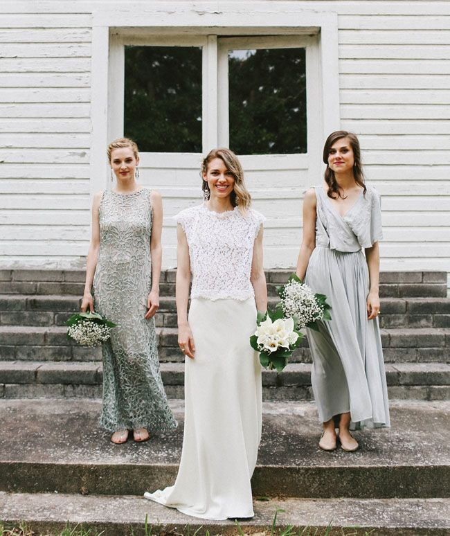 grey bridesmaids |Mix silver Bridesmaids to Look Gorgeous | http://www.itakeyou.co.uk/wedding/mix-and-match-bridesmaids #bridesmaids
