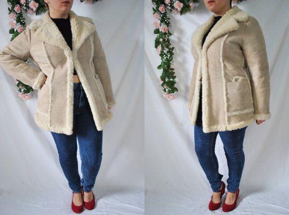Vintage años 70 ante Tan capa Shearling zalea chaqueta ovejas de piel cuero guisante capa años 70 Hippie chaqueta Boho capa otoño cálido abrigo