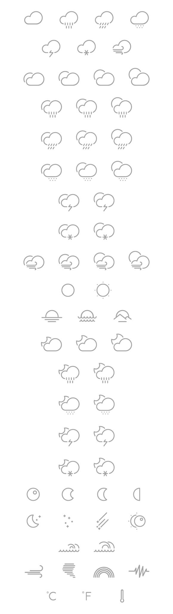 A set of 61 vector shaped outlined weather icons. Free PSD designed and released by Gustavo Cramez.