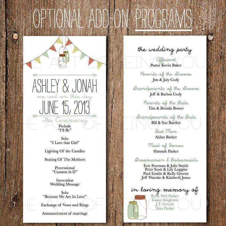 Printable Wedding Program Rustic Vintage Banner Mason Jar DIY Downloadable