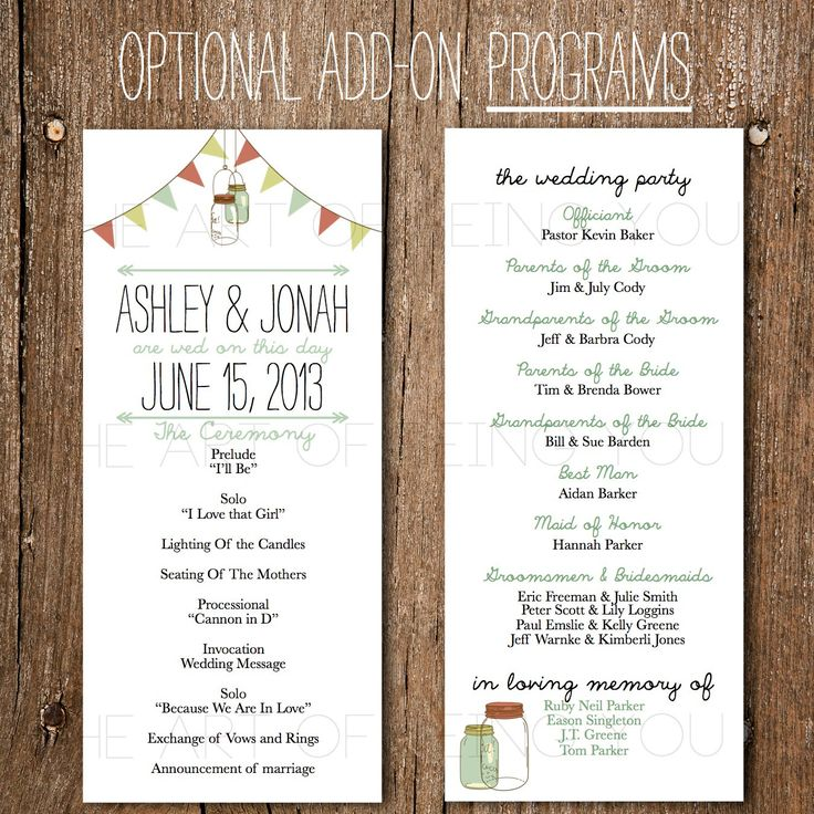 Diy Wedding Word Banners: Printable Wedding Program- Rustic Vintage Banner & Mason