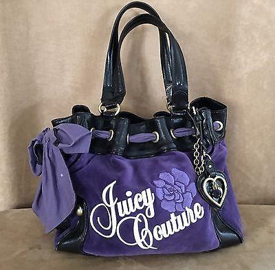 Juicy Couture handbag purple velour daydreamer hobo purse tote shop floral