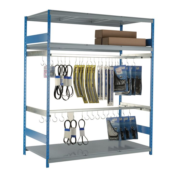 Hanging Rack : No. Shelves:9 / Width (inches):72 / Height (inches):87 / Depth (inches):36 / Net weight (lb.):271.35 / 300 lb capacity per rail.. / Hooks pivot once installed on the rail. They can be put on and taken off the rail at all times. / Capacity: 50 lb per hook. / Versatile structure, to which a wide range of accessories can be added. / A functional design that ensures it's easy to use.