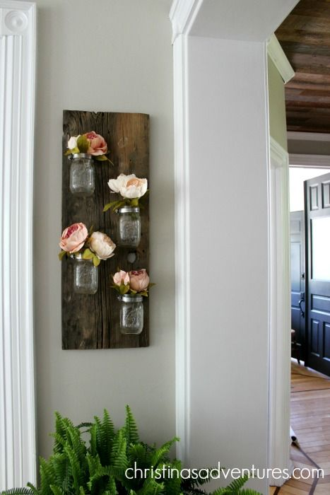 hanging wood mason jar holder