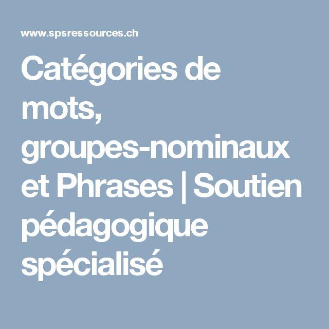 Catégories de mots, groupes-nominaux et Phrases | Soutien pédagogique spécialisé