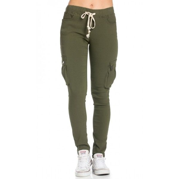 Drawstring Skinny Cargo Pants in Olive ($27) ❤ liked on Polyvore featuring pants, elastic waist pants, drawstring pants, cotton pants, skinny pants and stretchy pants