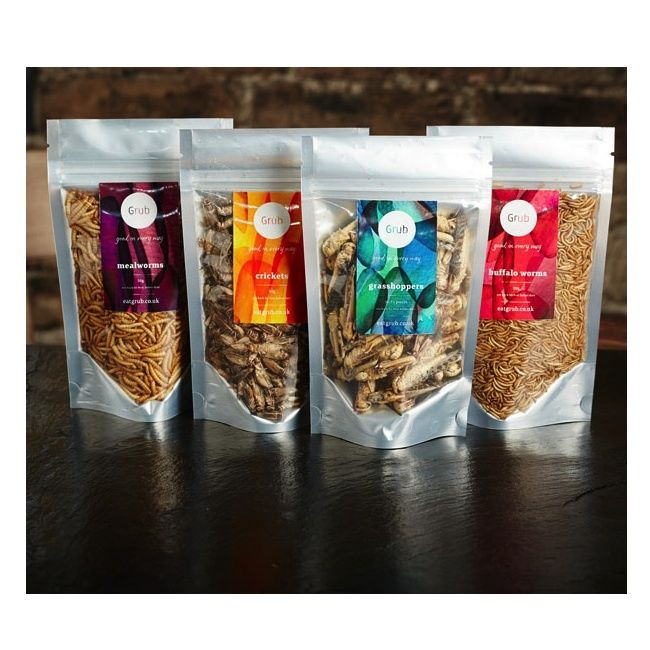 Edible Organic Insects Starter Pack including Grasshoppers, Mealworms, Crickets and Buffalo Worms. Incredibly healthy and can be eaten as a snack or as part of a meal.